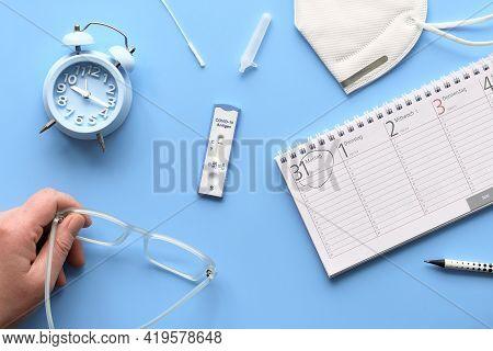 Fast Corona Test, Calendar, Medical Mask. Schnelltest Means Rapid Coronavirus Test, Selbsttest - Cov
