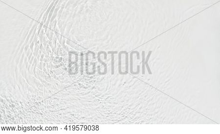 Water Background Banner. White Transparent Water Texture. Off White Water Surface With Waves, Ripple