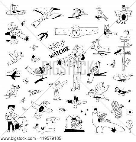 Birdwatching , Birds , Widlife Doodles , Vector Icon Set