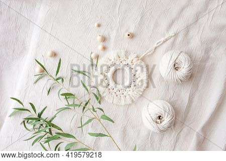 Macrame Cotton Decor. Natural Materials - Cotton Thread, Wood Beads. Eco Decorations, Ornaments, Han
