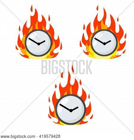 Set Of Dials In Flames. Late And Delayed. Business Icon. Cartoon Flat Illustration. Lack Of Time And