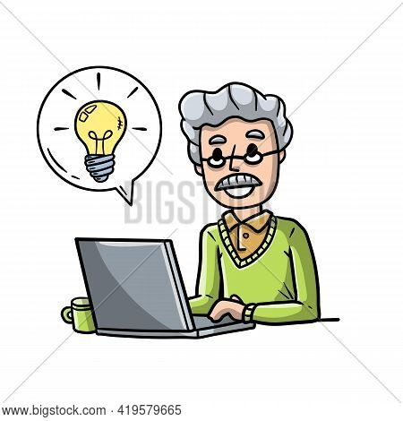 Man Sitting At Table With Laptop. Work As Freelancer And Programmer. Modern Gadget. Smiling Happy Gu