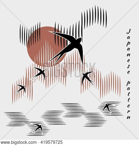 Minimalistic Pattern In Japanese Style. Flock Of Swallows Flies Into Bright Sun. River, Forest, Clou