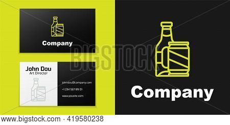 Logotype Line Beer Bottle And Beer Can Icon Isolated On Black Background. Logo Design Template Eleme