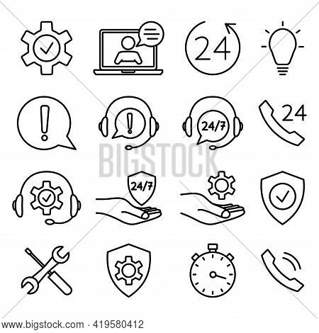 Help And Support Icon Set. Online Technical Support. Concept Illustration For Assistance, Call Cente