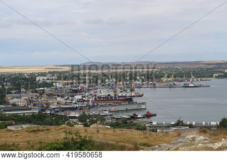 Kerch, Crimea - Jane 24, 2018: View From Mount Mithridates To The Sea Trading Port. Dry Cargo Ship E