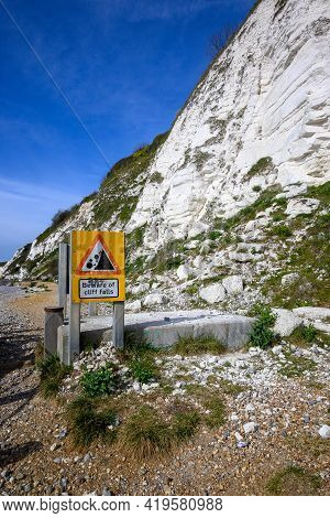 Cliff And Cliff Fall Warning Sign Near Beachy Head, Sussex