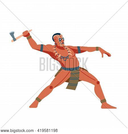 Native American Warrior Or Brave Leaping Toward And Attacking With A Tomahawk. Vector Cartoon Clip A