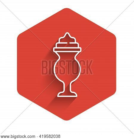 White Line Milkshake Icon Isolated With Long Shadow. Plastic Cup With Lid And Straw. Red Hexagon But