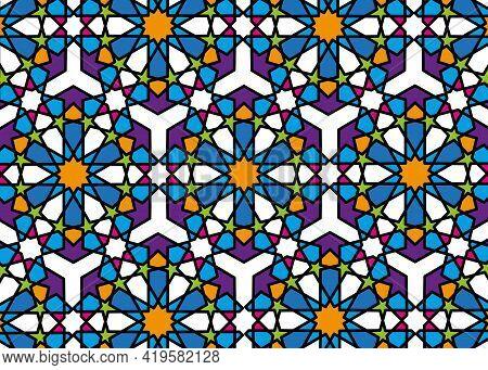 Seamless Islamic Pattern, Black Line Art Persian Mosaic Motif. Ramadan Banner Arabic Round Pattern E