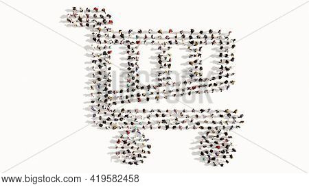 Concept conceptual large community of people forming the shopping cart icon. 3d illustration metaphor for communication, connection, encryption, security, privacy and technology