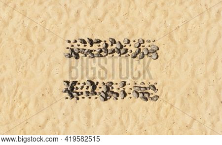 Concept conceptual stones on beach sand handmade symbol shape, golden sandy background, equal sign. 3d illustration metaphor for education, nature, sunny and tropical, summer, sunny, seaside tropical