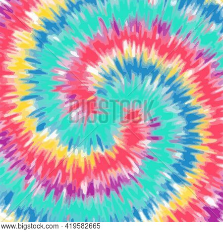 Tie Dye Background Rainbow Color Swirl. Colorful Abstract Pattern Design Vector