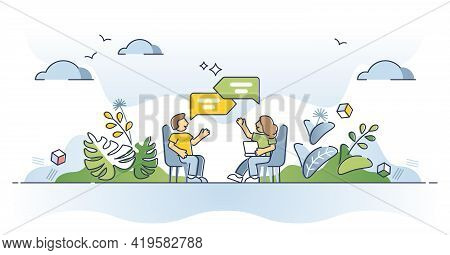 Discussion As Talking About Conversation Topic And Speech Outline Concept. Dialog Process And Social