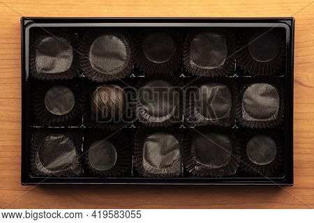 Last one remaining.  One chocolate remaining in a box of chocolates.