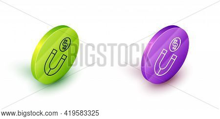 Isometric Line Magnet With Money Icon Isolated On White Background. Concept Of Attracting Investment