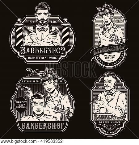 Barbershop Vintage Monochrome Prints With Inscriptions Trendy Male Barbers Beautiful Winking Tattooe