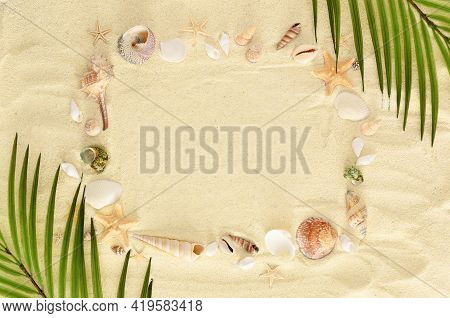 Frame Made Of Seashells And Starfishes On A Sand Background With Palm Leaves. Marine Summer Concept.