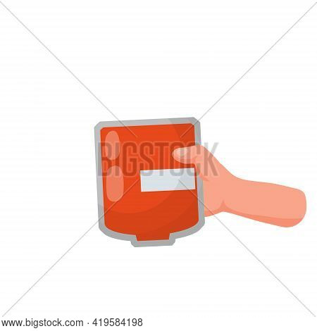 Hand Holds A Package Of Blood. Medical Procedure. Blood Transfusion. Flat Cartoon