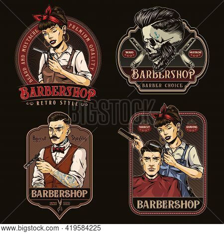 Barbershop Colorful Vintage Emblems Set With Stylish Mustached Man Holding Straight Razor Skull With