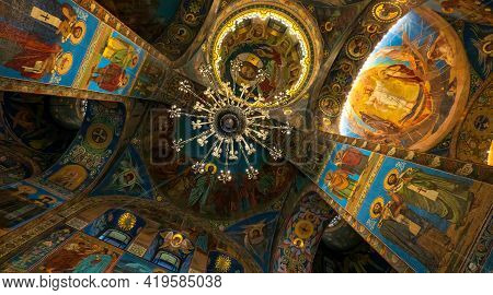 Russia. Saint-petersburg.11.17.2019.interior Of The Cathedral Of The Savior On Spilled Blood. Colo.r