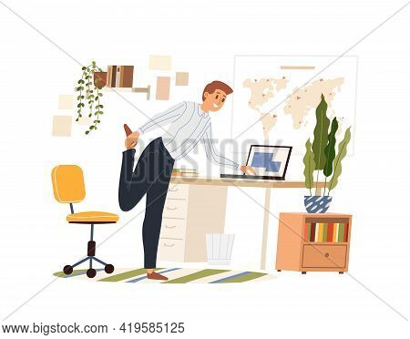 Man Doing Warm-up At The Workplace, Vector Flat Illustration Isolated. Male Practicing Workout In Th