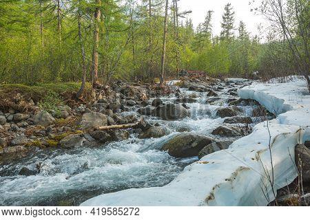 River Hoisey. Polar Day On Putorana Plateau, Taimyr. Russia