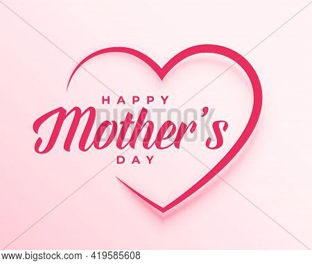 Mothers Day Poster Design With Heart Vector Template Design