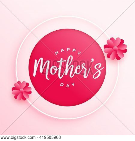 Happy Mothers Day Flower Card Vector Template Design
