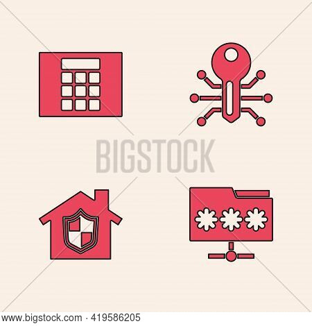 Set Folder With Password, Password Protection, Smart Key And House Under Icon. Vector