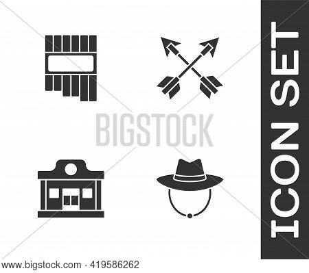 Set Western Cowboy Hat, Pan Flute, Wild West Saloon And Crossed Arrows Icon. Vector
