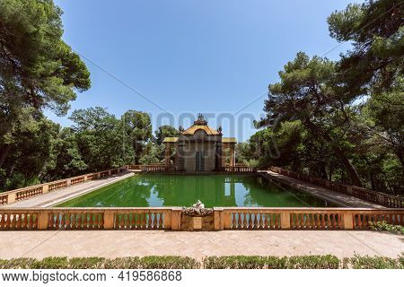 Emerald Water Pond In The Park Of The Labyrinth Of Horta (parc Del Laberint D'horta) In Barcelona, S