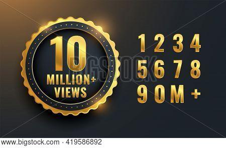 10 Million Or 10m Views Celebration Label Design