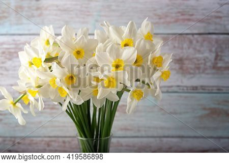 Bouquet Of Beautiful Daffodils Of Different Types, Background. Spring Flowers, Terry And Yellow Stam