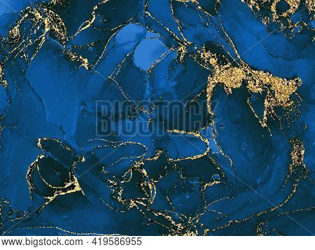 Black And Blue Watercolor Background With Gold Glitter. Watercolor Alcohol Ink Splash, Liquid Flow T