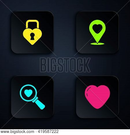 Set Heart, Castle In The Shape Of Heart, Search And Love And Location With. Black Square Button. Vec