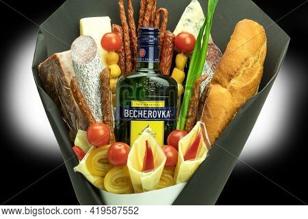 Warsaw, Poland - March 25, 2021: Original Gift Bouquets Of Food And Alcohol. An Originally Designed
