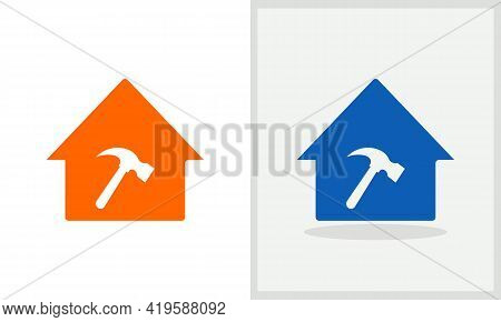 Hammer House Logo Design. Home Logo With Hammer Concept Vector. Hammer And Home Logo Design