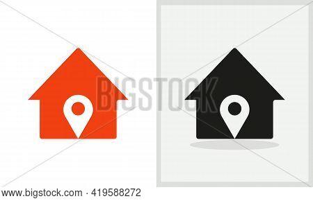 Pin House Logo Design. Home Logo With Pin Concept Vector. Pin And Home Logo Design