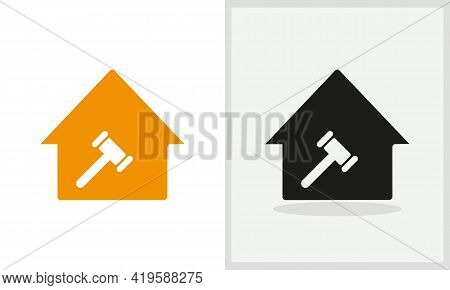 Law House Logo Design. Home Logo With Law Concept Vector. Law And Home Logo Design