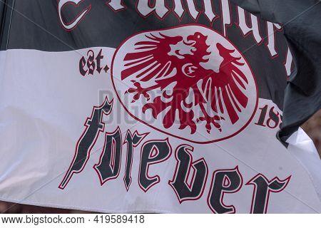Frankfurt Am Main, Germany-may 25, 2018: Waving Flag Of German Football Club Eintracht Frankfurt