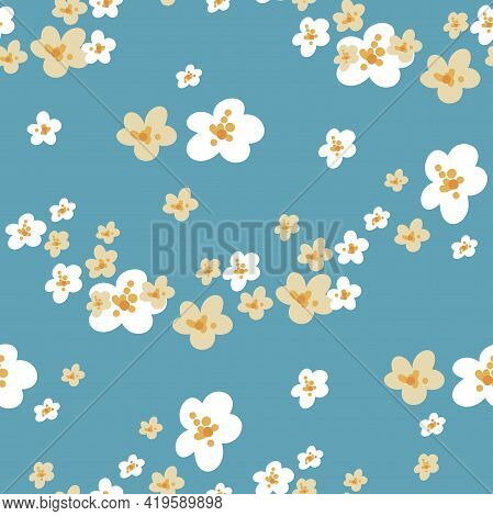 Vector Seamless Pattern With White And Yellow Small Flowers. Ditsy Pattern.