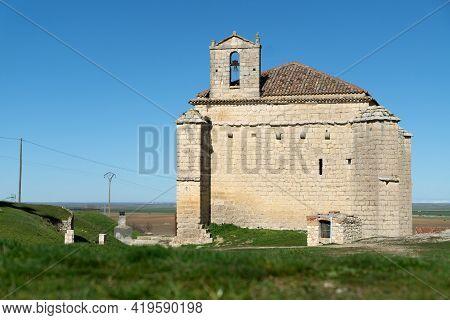 Santiago Hermitage In Ampudia In A Sunny Day, Palencia, Castilla Y León, Spain.