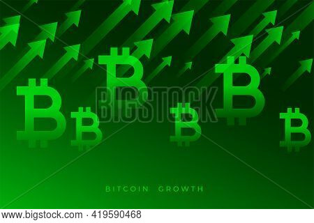 Bitcoin Growth Graph With Upward Green Arrows