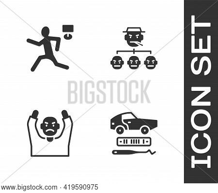 Set Car Theft, Murder, Thief Surrendering Hands Up And Mafia Icon. Vector
