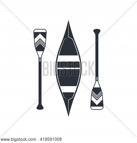 Canoe Icon Sign In Flat Style, Vector