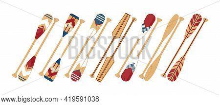 Canoe Oars Set In Flat Style, Vector