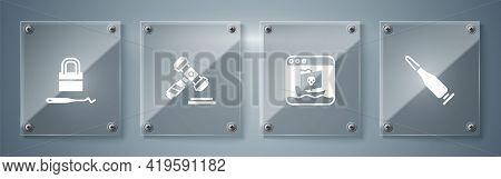 Set Bullet, Internet Piracy, Judge Gavel And Lock Picks For Lock Picking. Square Glass Panels. Vecto