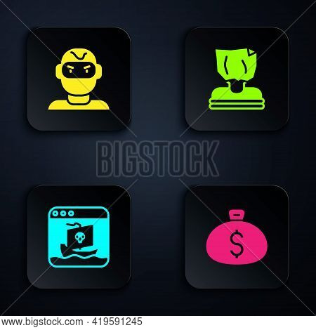 Set Money Bag, Thief Mask, Internet Piracy And Kidnaping. Black Square Button. Vector