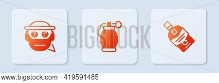Set Hand Grenade, Bandit And Whiskey Bottle. White Square Button. Vector